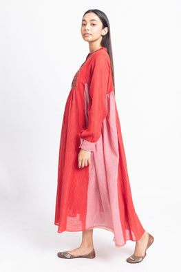 LVLILA-154 Lotus veda Rang Red cotton yarn dyed dress