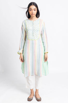 LVLILA-159, Lotus Veda Green cotton yarn dyed yoke dress