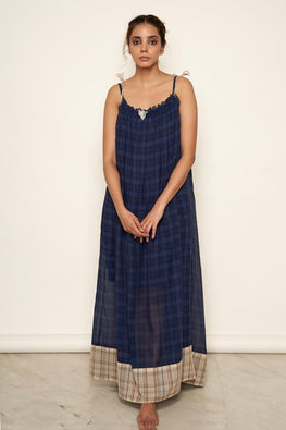 LVLILA 24 Indigo Gathered Cotton Dress For Women Online