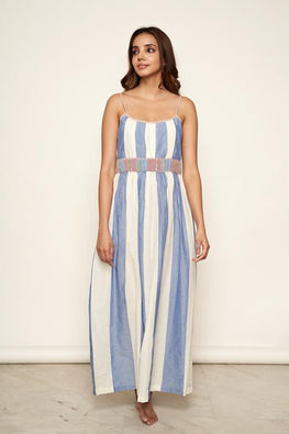 LVLILA 27 White and Blue Striped Gathered Cotton Dress For Women Online
