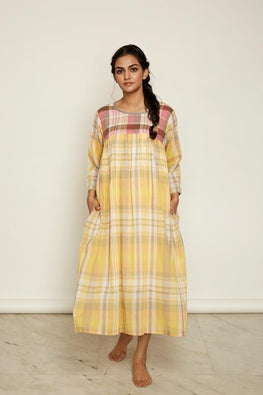 LVLILA 28 Yellow Hand Embroidered Madras Check Cotton Dress For Women Online