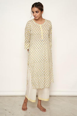 LVLILA-32 Yellow Mughal hand block printed Straight fit kurta