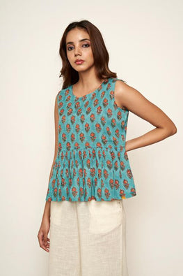 LVLILA-44 Teal hand block printed top
