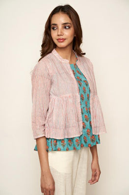 LVLILA Hand Block Printed Strip Jacket For Women Online