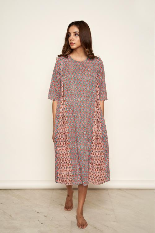 LVLILA-46 Hand block printed godet dress