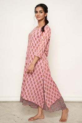 LVLILA-48 Pink hand block print double layer dress