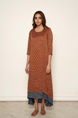 LVLILA 57 Modal Satin Hand Block Print Ajrakh Double Layer Cotton Dress For Women