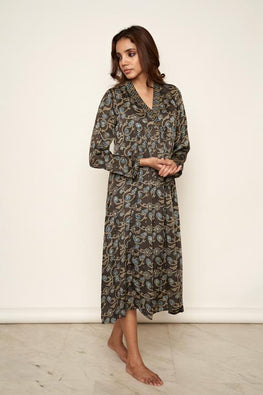 LVLILA 60 Modal Satin Hand Block Print Ajrakh Gathered Cotton Dress For Women
