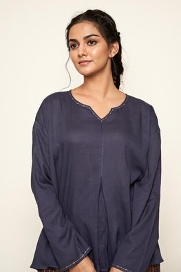 LVLILA-61 Indigo cotton moss top