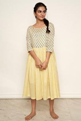 LVLILA 62 Yellow Mughal Hand Block Printed Gathered Cotton Dress For Women Online