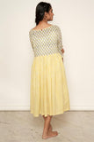 LVLILA-62 Yellow Mughal hand block printed gathered dress