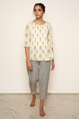 LVLILA-67  yellow Mughal hand block printed top