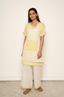 LVLILA 68 Yellow Mughal Hand Embroidered Kitchen Dress For Women Online