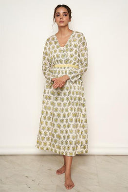 LVLILA 73 Yellow Mughal V Neck Front Open Cotton Dress For Women Online
