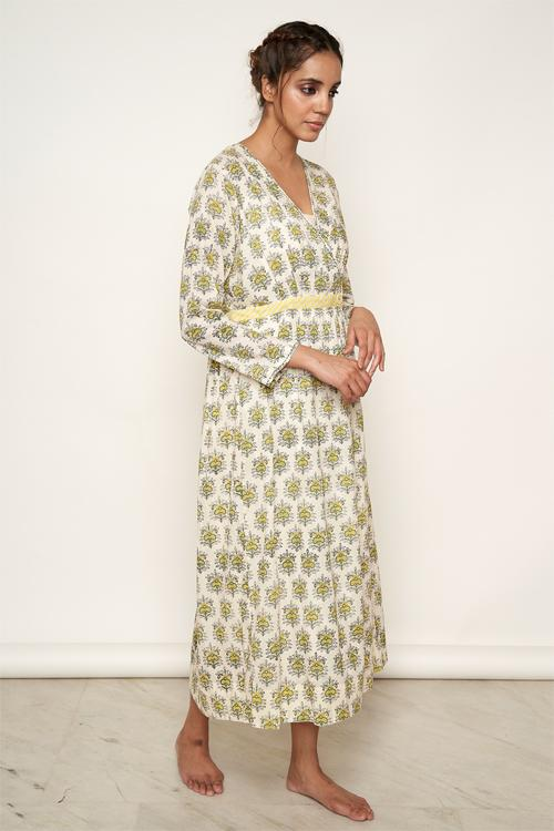 LVLILA-73 yellow Mughal hand block printed dress