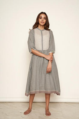 Lotusveda 'Tamasha' Handspun Pure Cotton Handwoven Cotton Yoke dress