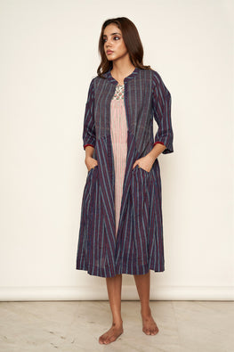 Lotusveda 'Banjara' Indigo And Red Striped South Cotton Yarn Dyed Jacket