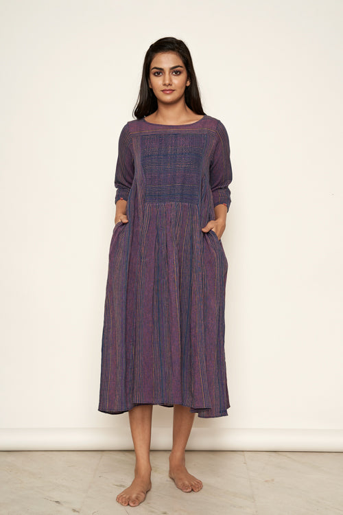 Lotusveda 'banjara'Purple South cotton Yarn Dyed Dress
