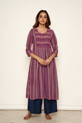 Lotusveda 'banjara'purple South Cotton yarn dyed kurta