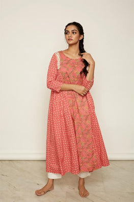 LVLILA 2 Pink Floral Gathered Cotton Dress For Women Online
