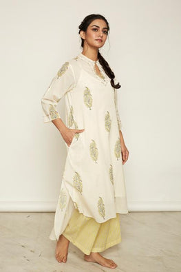 LVLILA-33 Yellow Mughal hand block printed High-low kurta