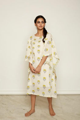 LVLILA 38 Yellow Mughal Hand Block Printed Cotton Kaftan Dress For Women Online