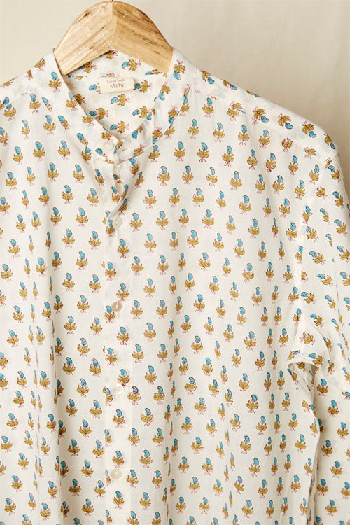 LVMAHI-4 Yellow and blue hand block print shirt