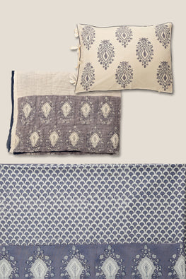 handblock printed single bed set of 3