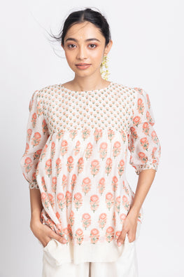 LVLILA-126 Lotus Veda svetah: peach hand block printed chanderi silk double layer top