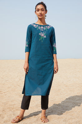 Okhai 'Refresh' Embroidered Cotton Handloom Kurta