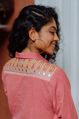 Okhai 'Rumi' Cotton Handloom Embroidered Mirror Work Shirt