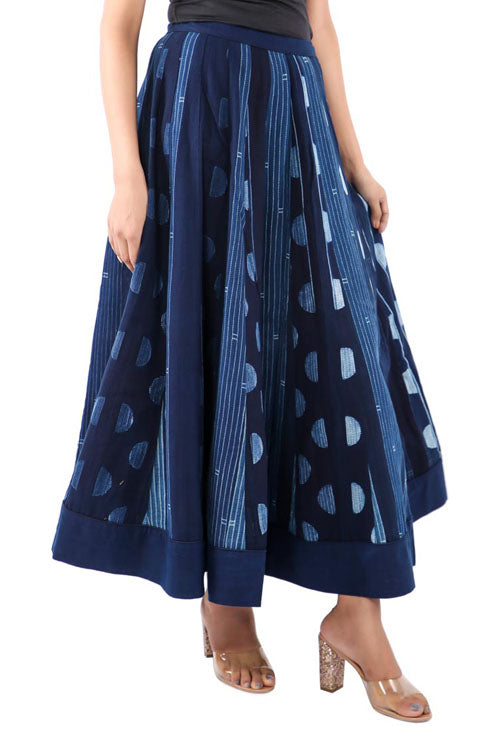 Mura shibori Handcrafted Indigo white patched Boro skirt.
