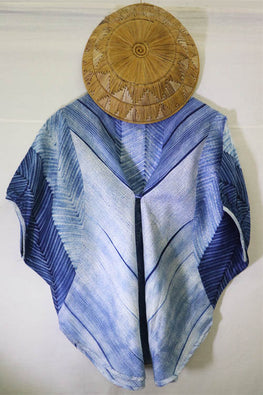 Mura Shibori Handcrafted Indigo- white Butterfly day top in heavy Chanderi.