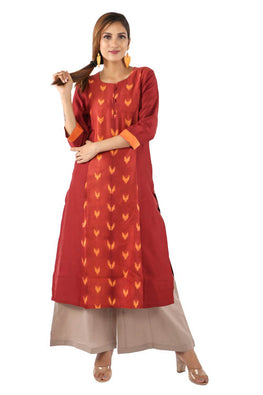 Mura Shibori Handcrafted Orange - Rust Chevons kurta in heavy Chanderi.