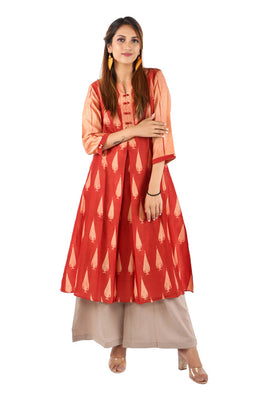 Mura Shibori Handcrafted Rust-cream Inverted Pleat heavy Chanderi kurta with looped twin buttons.