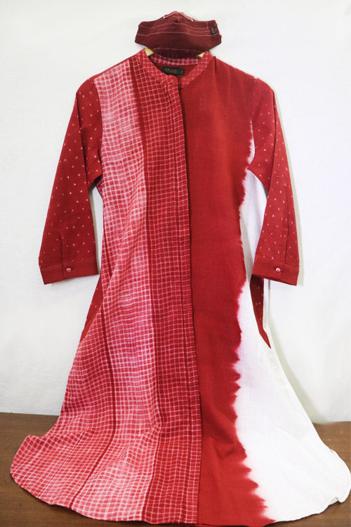 Mura Shibori Handcrafted Invisible placket front closure Kurta Dress with 2 side pockets.