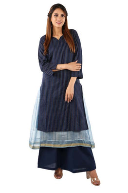 Mura shibori Handcrafted layered outfit in Cotton and Silk kota in Indigo tones.