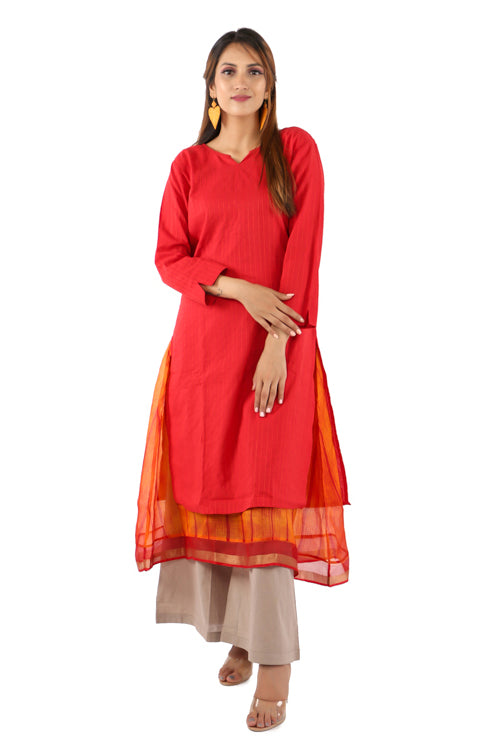 Mura shibori Handcrafted layered outfit in Cotton and Silk kota in festive Orange - Red combination.
