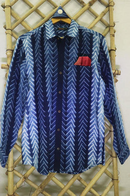 Mura Shibori Handcrafted Men's Indigo Full sleeved shirt in the classic Chevron pattern.