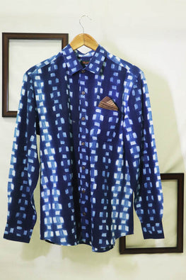 Mura Shibori Handcrafted Men's D Indigo Full sleeved shirts in Small Lines design.