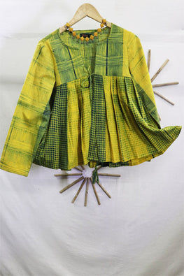 Mura Shibori Handcrafted Yellow- green- Indigo Tic Tac Toe & Checks pleated Top/ jacket/ saree blouse with ties and tassels.