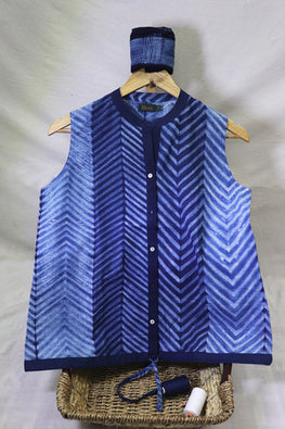 Mura shibori Handcrafted Indigo white Zig zag Drawstring Top- A line combination ensemble.