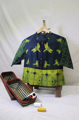 Mura Shibori Handcrafted Yellow- D green Panelled top / Saree blouse with Dragon flies shibori motif