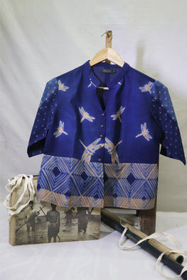 Mura Shibori Handcrafted Light orange- indigo Panelled top / Saree blouse with scattered dragon flies motifs.