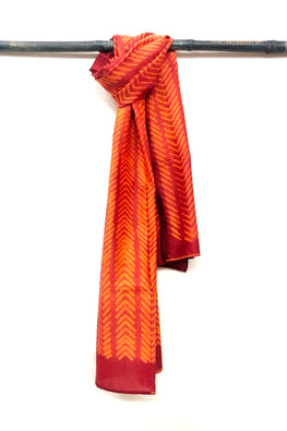 MURA SHIBORI HANDCRAFTED ORANGE RUST HEAVY CHANDERI STOLE