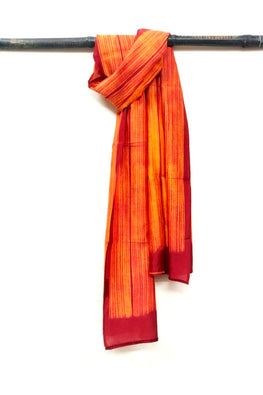 MURA SHIBORI HANDCRAFTED ORANGE RUST HEAVY CHANDERI STOLE-1