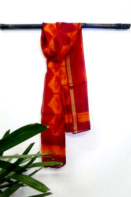 MURA SHIBORI HANDCRAFTED ORANGE MAROON TRIANGLE SILK KOTA STOLE
