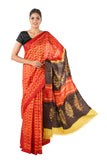 MURA SHIBORI HANDCRAFTED TASSAR SILK YELLOW RED BROWN SAREE