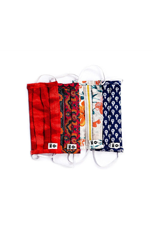Adjustable Elastic | Size -Small | Style -Pleated|Colour - Assorted #14|Fabric – 100% Natural Cotton | Cloth Face Mask Pack of 4