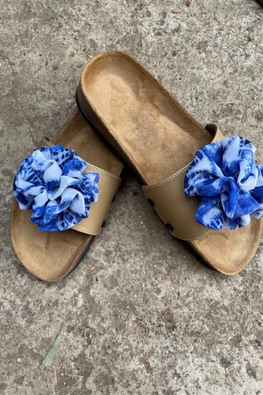 Murtle 'Blue Baubles' Natural Cork Sole Sliders